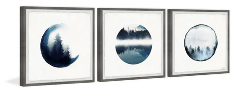 Forest Mountain Reflection Triptych