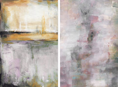 Pink and Yellow Smokes Diptych