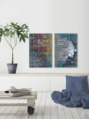 Multi-Color Strokes Diptych