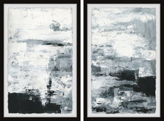 Black and White Smudges II Diptych