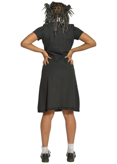 60's Striped Ribbon Collar Dress