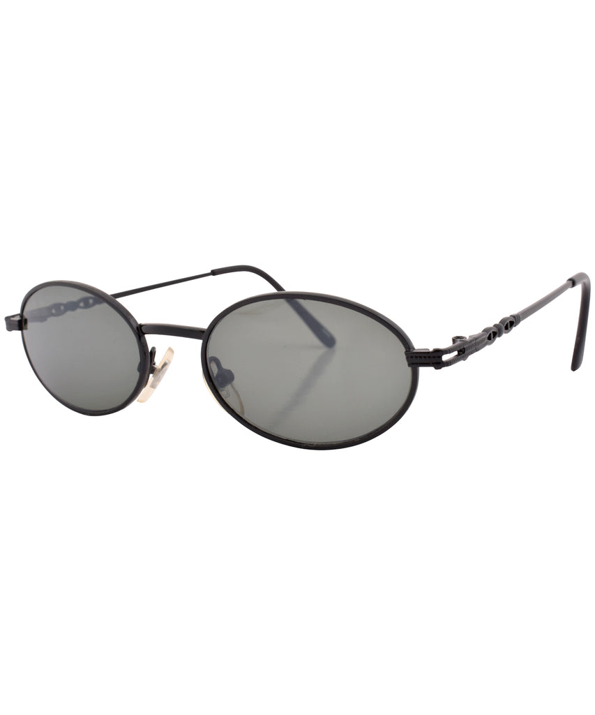 ADELSTEIN Black Oval Sunglasses