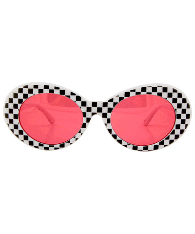 cobain white red checkers sunglasses