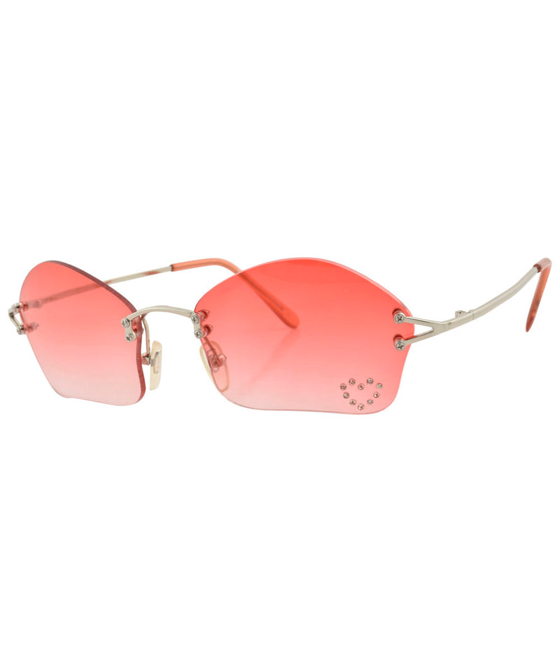 COSMIC Red/Heart Rimless Rhinestone Sunglasses