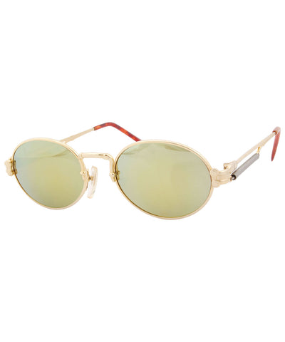 crowns gold mirror sunglasses