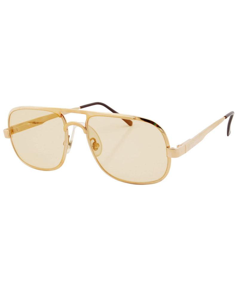 FILLMORE Gold/Tan Square 70's Sunglasses