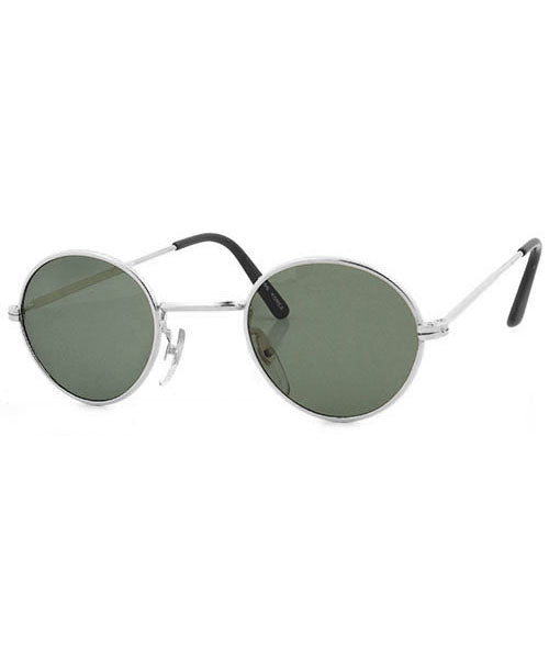 HARDING Silver/Green Round Sunglasses