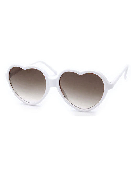 big hearts white sunglasses