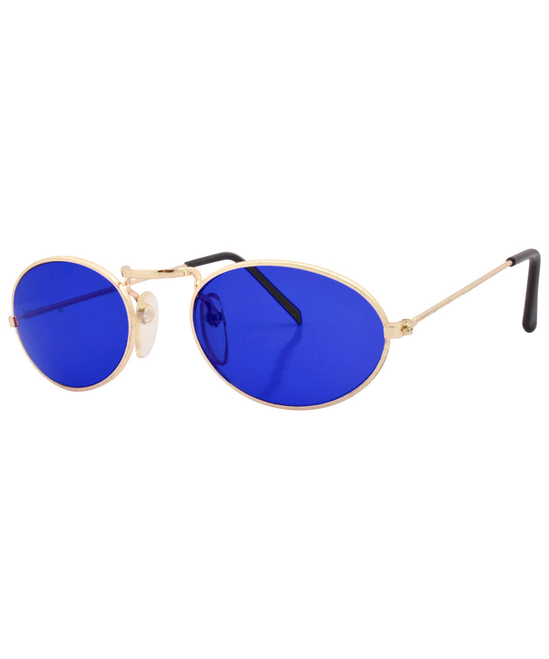hugs gold blue sunglasses