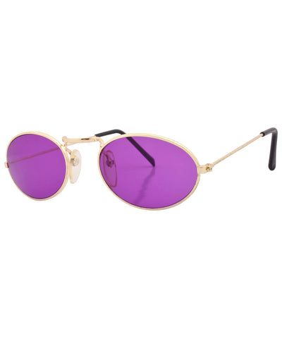 hugs gold purple sunglasses
