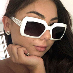 hustle white sunglasses