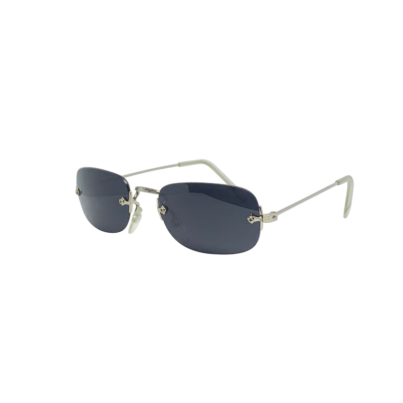SOUP Black and Silver Rimless Sunglasses