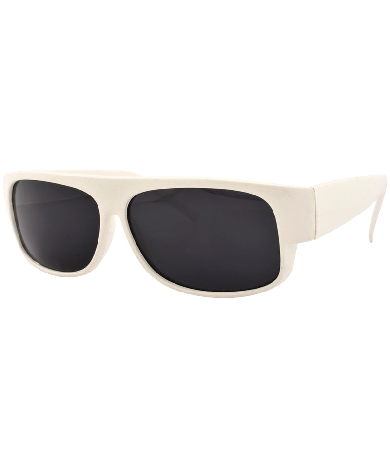 lowered white sunglasses