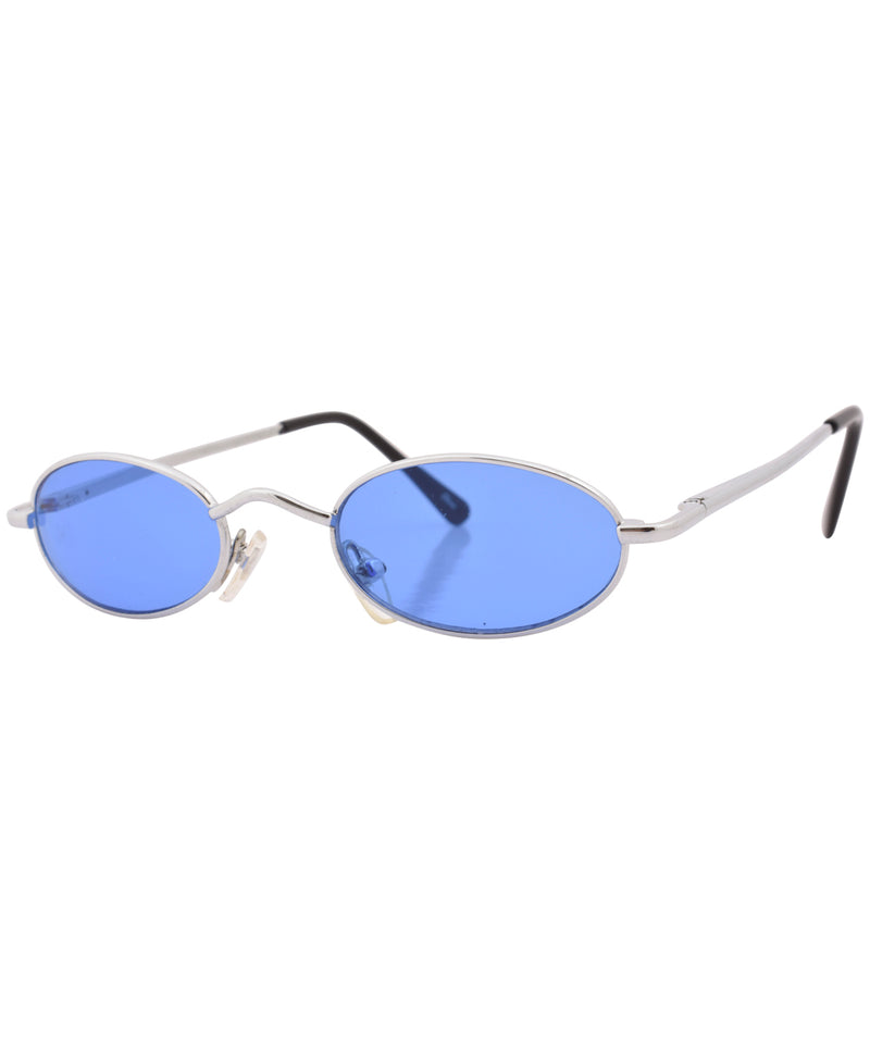 lozenge silver blue sunglasses