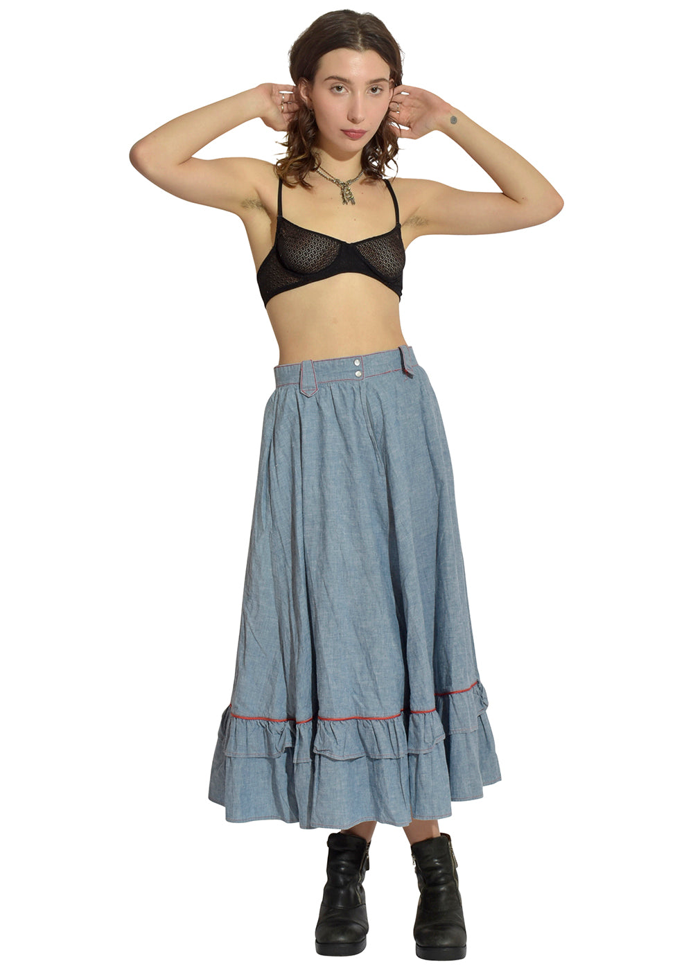 Light Jean Prairie Skirt with Red Stitching
