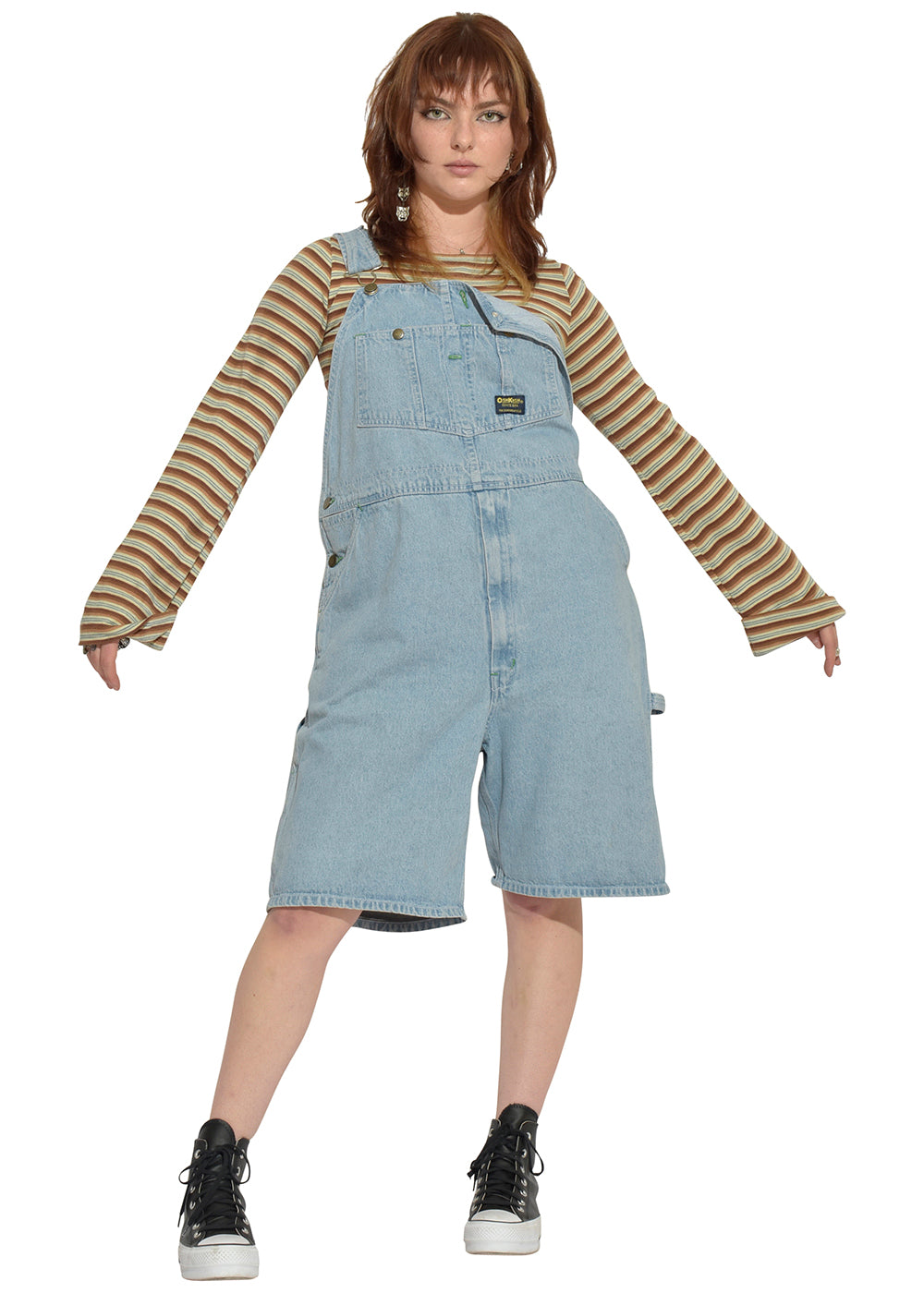 Little Michigan Overalls & Striped Sweater Tease Top