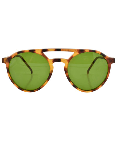 MOORE Demi/Green Round Sunglasses