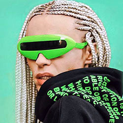 MOUTH Green Freaky 80s Shield Sunglasses