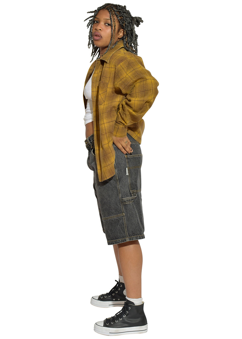 Mustard Tom Flannel & Black SouthPole Jean Shorts
