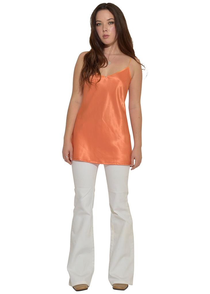 Orange Silk Disco Top with White Voice of Voices Jeans