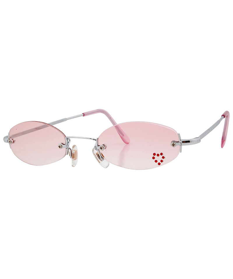 PEEP Pink/Heart Rimless Micro Sunglasses