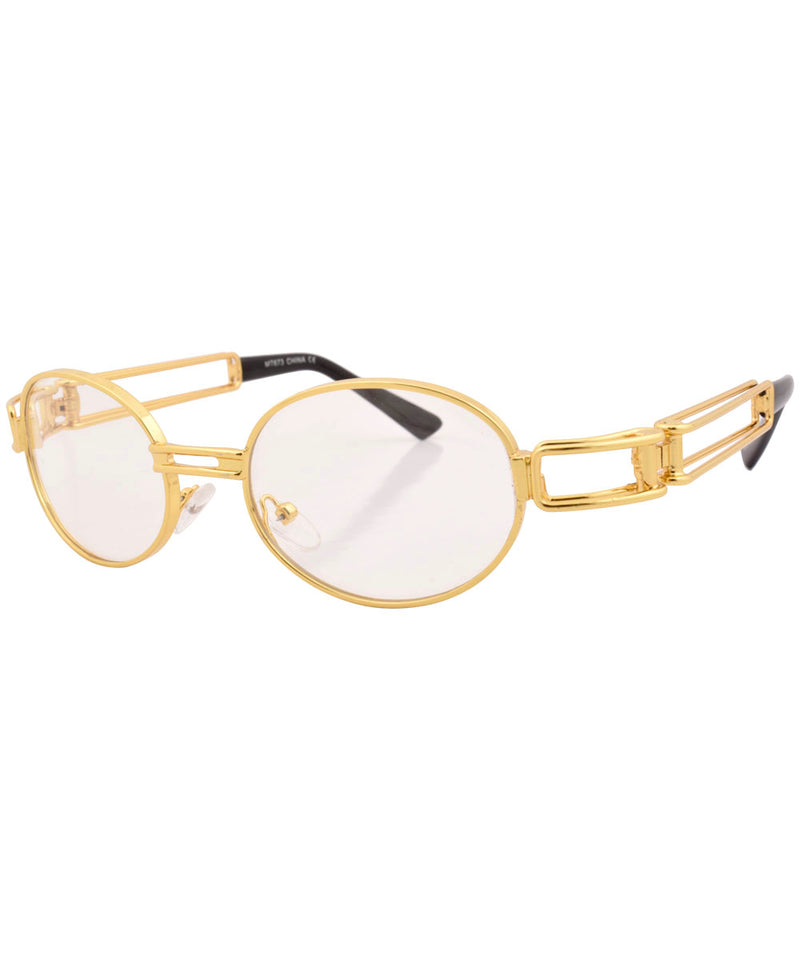 poppers gold clear sunglasses