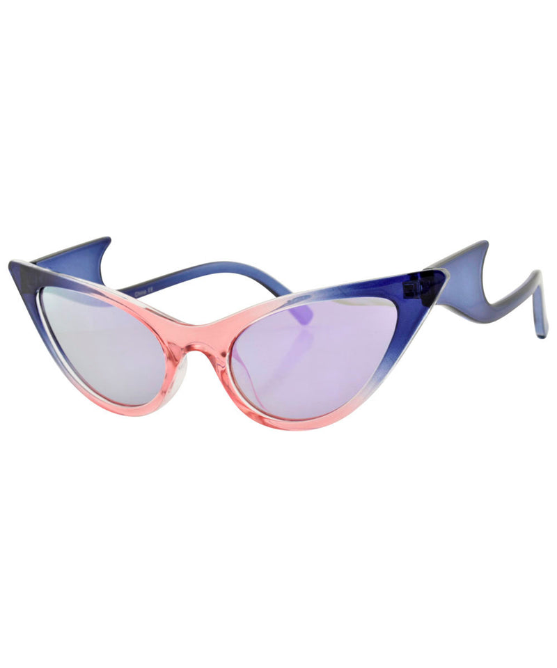 QUIZZY Blue/Pink Extreme Cat-Eye Sunglasses