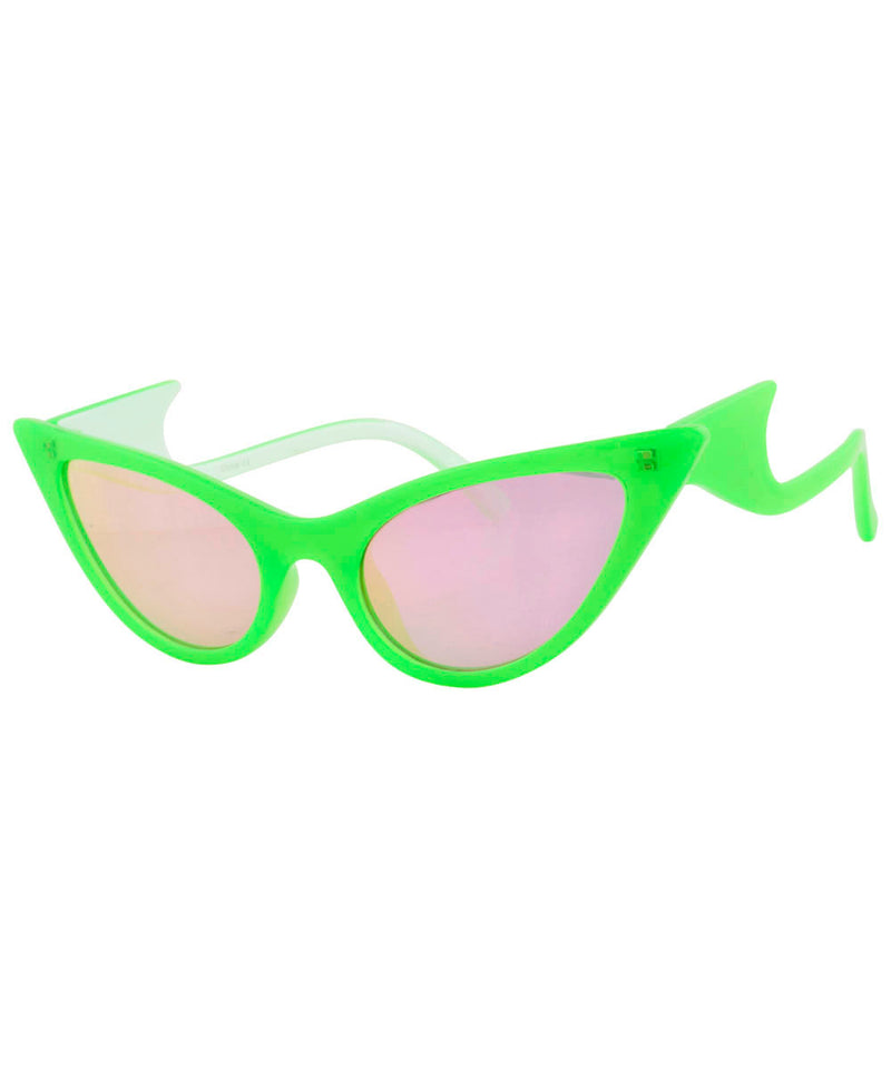 QUIZZY Green Cat-Eye Sunglasses