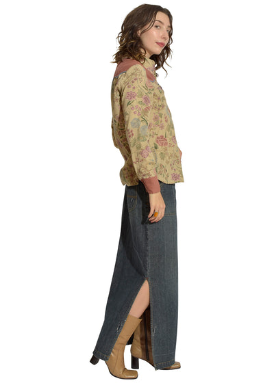 Sex Tex Floral Cow Girl Shirt & Low Rise Jean Maxi Slit