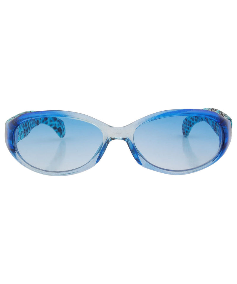 TWINS Blue Animal-Print Oval Sunglasses