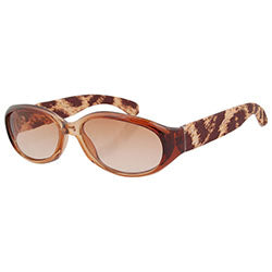 TWINS Brown Animal-Print Oval Sunglasses