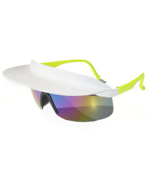 visor xl white yellow sunglasses