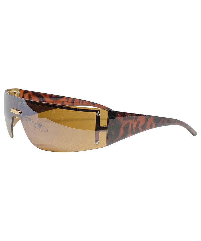 VIZION Gold/Brown Shield Sunnies