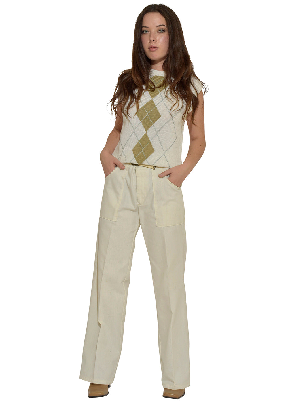 White Knit Diamond Sweater Top & Perfect Adjustable Cream Trousers
