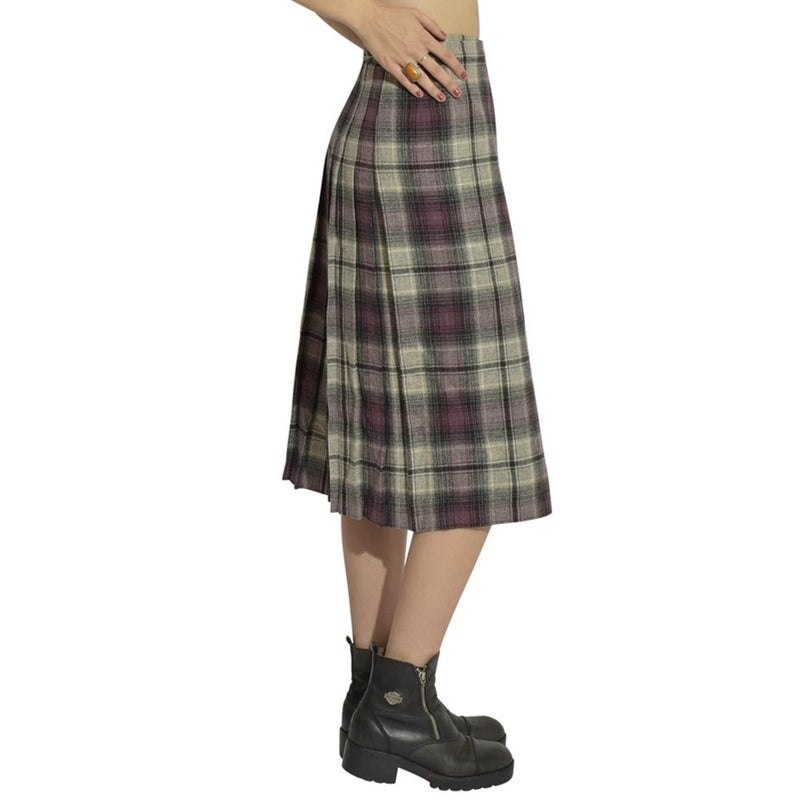 Wool Purple Plaid Catholic School Skirt
