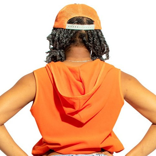 Y2k Orange Roxy Crop Tight Vest