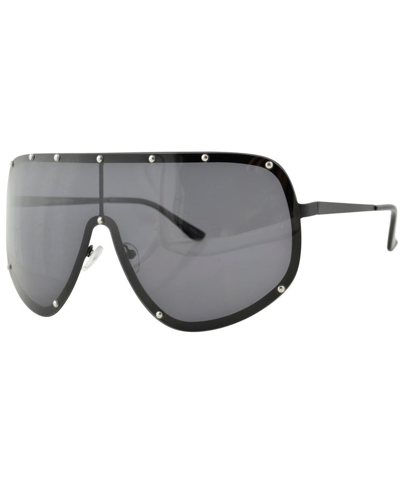 YOKO Black Oversized Shield Sunglasses
