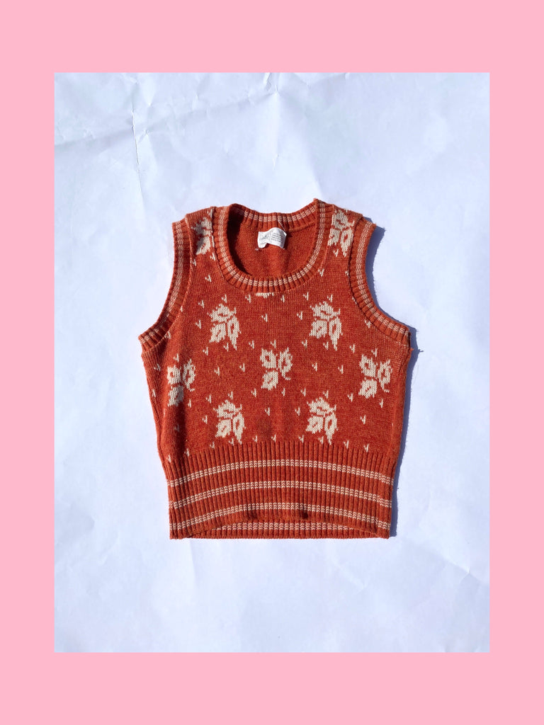 Orange Leaf Sweater Vest