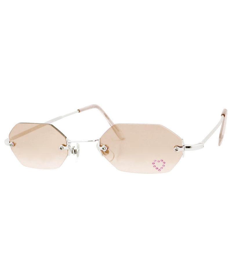MARY KATE Brown/Heart Rimless Rhinestone Sunglasses