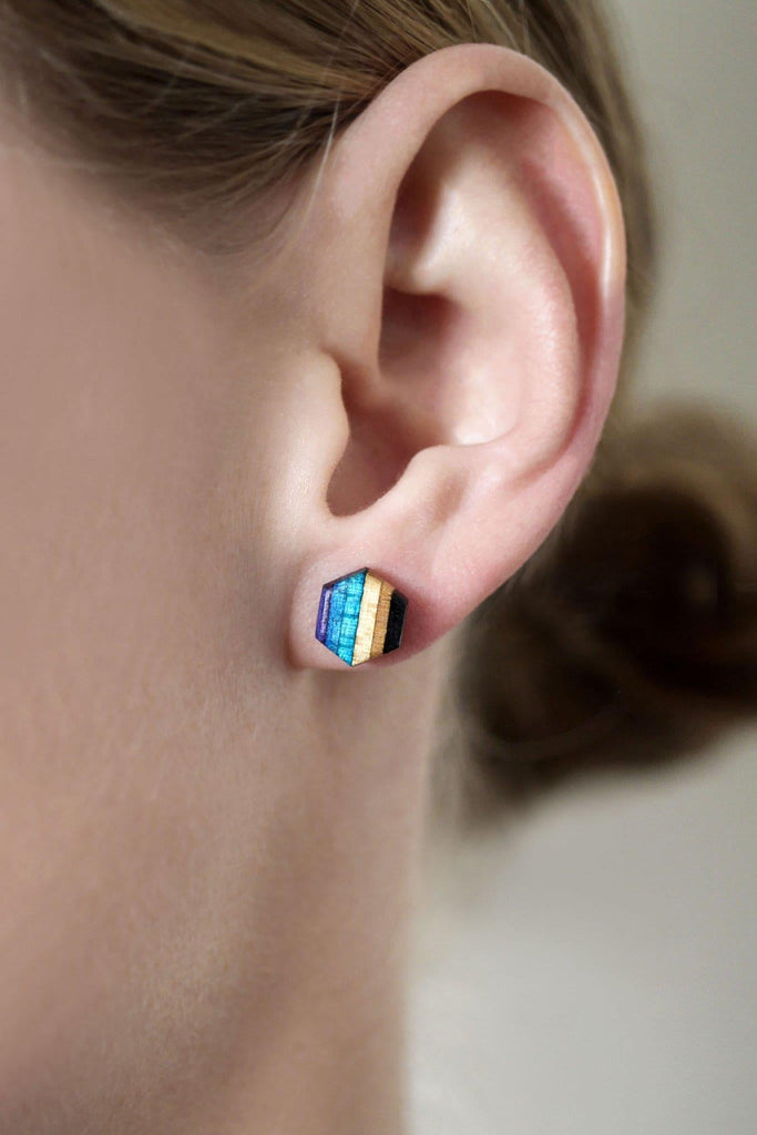 Hexagon Wood Stud Earrings