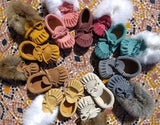 Baby Moccasins - Ice Suede with Fur