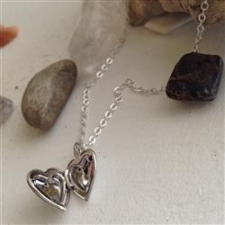 Silver Heart Locket Neckace