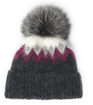 Pink & Grey Icelandic Wool Toque with Fur Pom Pom