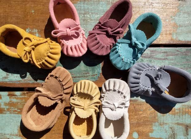 Baby Moccasins - Turquoise Suede