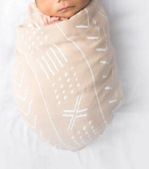 Almond Mudcloth Swaddling Blanket
