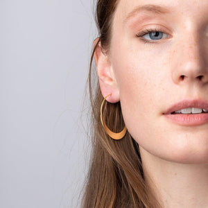 Crescent Moon Hoops - Gold