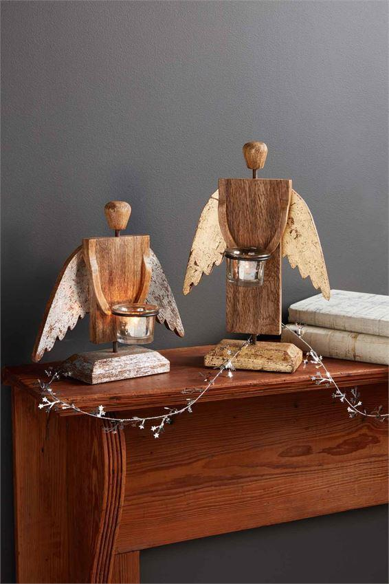 Silver Wooden Angel Candle Holder