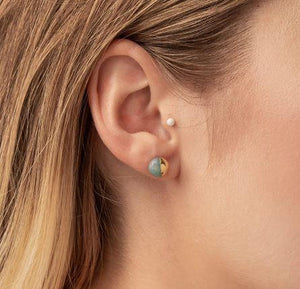 Amazonite and Gold Dipped Stud Earrings