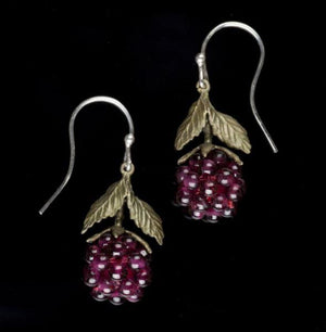 Raspberry Wire Drop Earrings