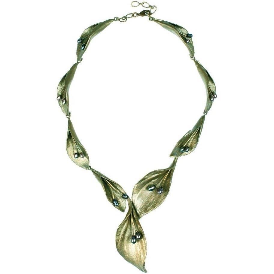 Hosta Bold Bronze Necklace w/ Pearls